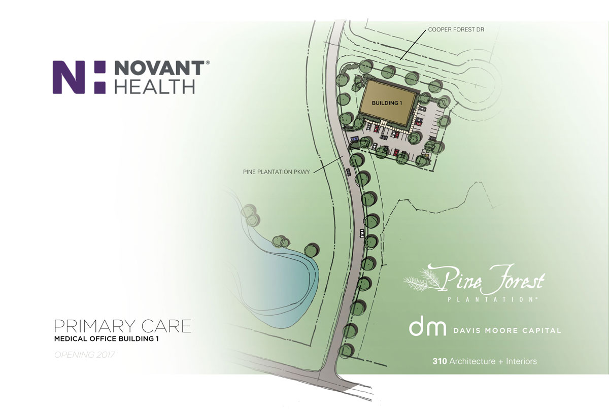Novant Health site plan in the Pine Forest Plantation Medical Campus