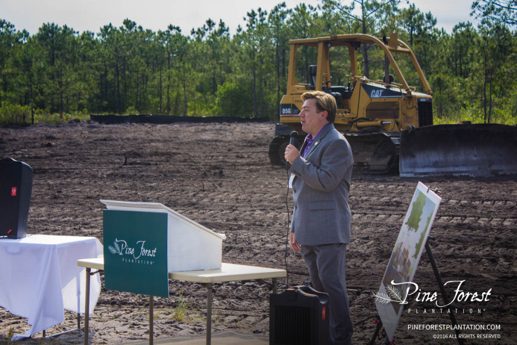 Guest of honor, Shelbourn Stevens, president of Novant Health Brunswick Medical Center speaks at the official groundbreaking.