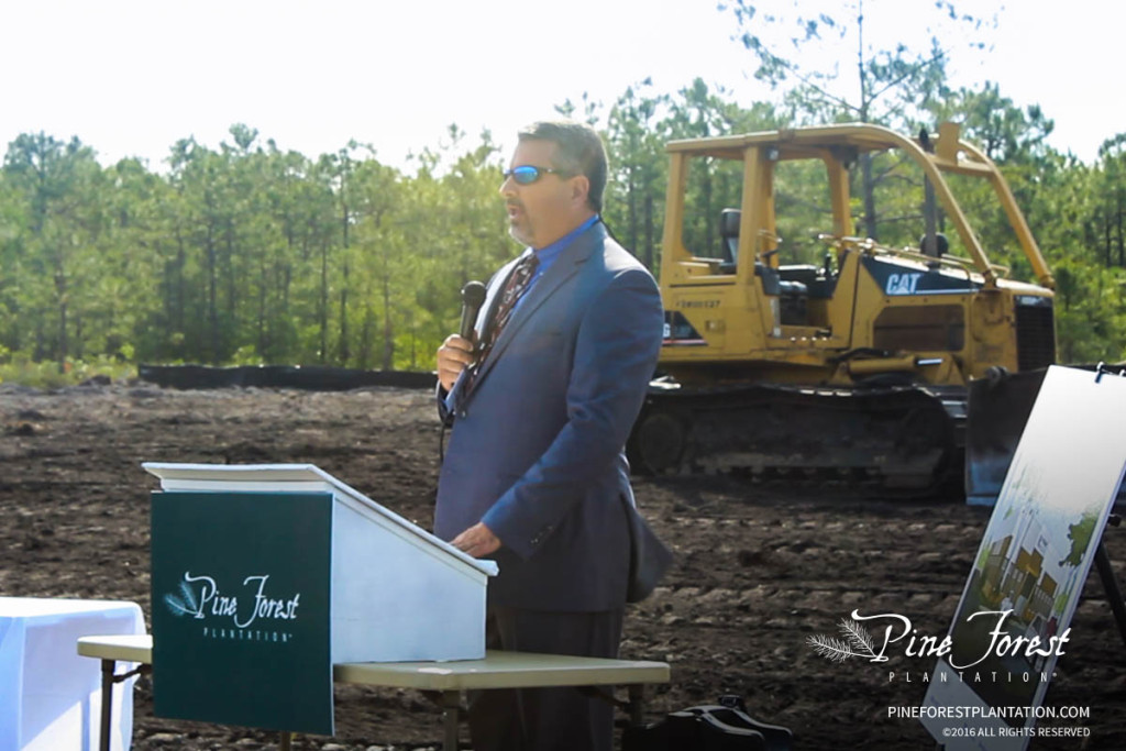 Chris Maynor with Legacy Community Partners speaks on behalf of Pine Forest Plantation.