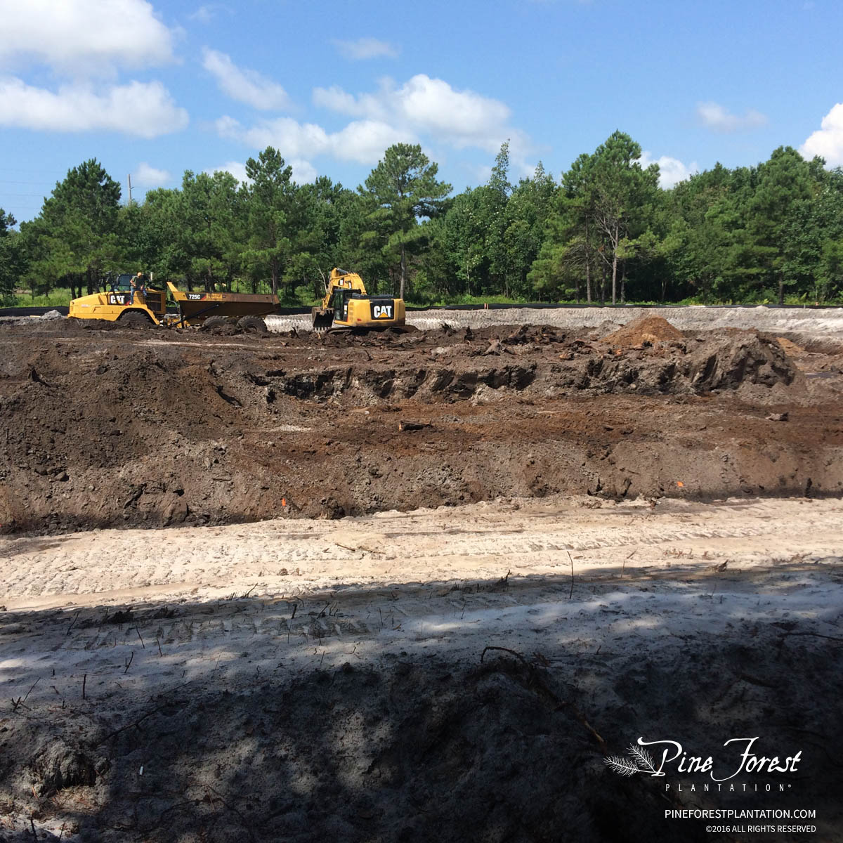 Ongoing site work at and construction progress at Pine Forest of Oak Island, NC.