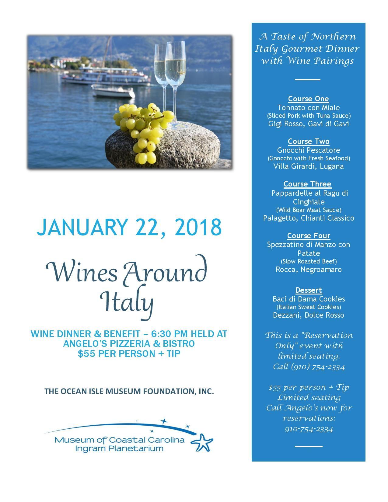 Wines around Italy - Dinner and Benefit at Angelo's Bistro